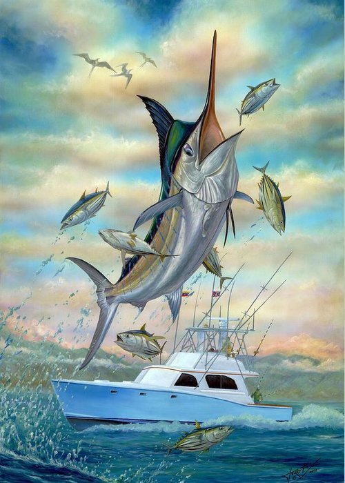 Blue Marlin Greeting Card featuring the painting Waterman by Terry Fox