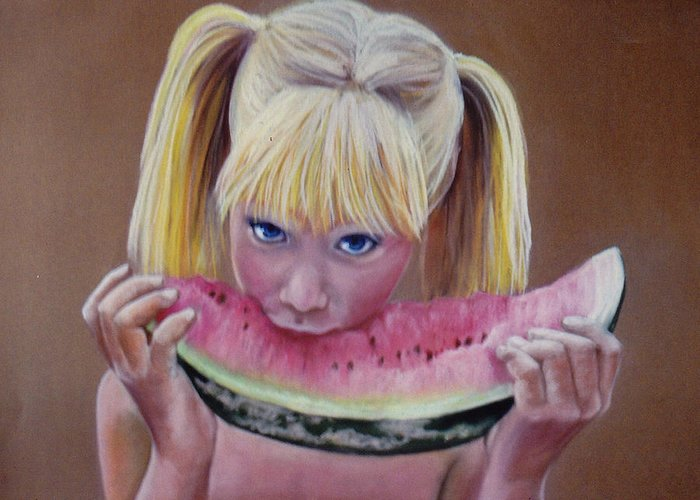 Watermelon Slice Greeting Card featuring the pastel Watermelon Bite by Colleen Gallo