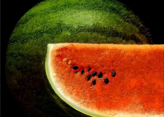 Watermelon Greeting Card featuring the digital art Watermelon by David Blank