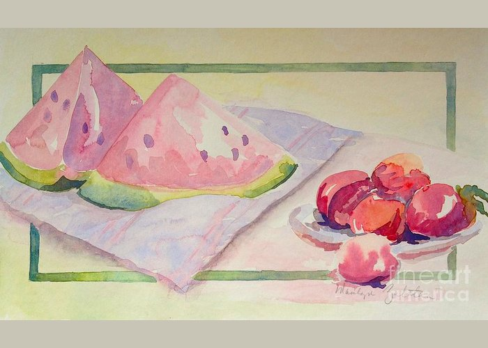 Watermelon Greeting Card featuring the painting Watermelon by Marilyn Zalatan