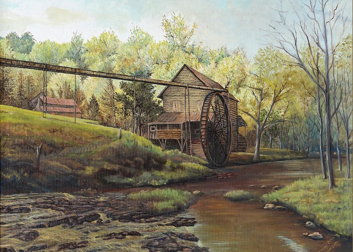 Landscape Greeting Card featuring the painting Watermill At Daybreak by Mary Ellen Anderson
