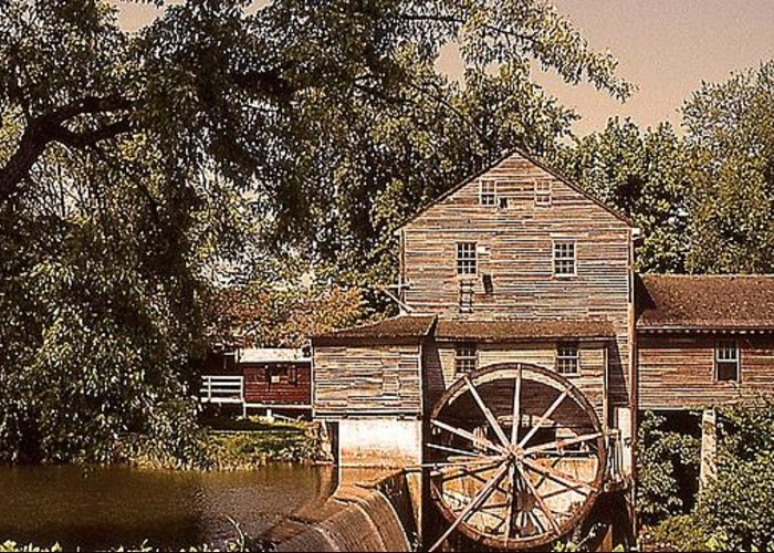 Scenic Greeting Card featuring the photograph Watermill Two by Douglas Settle