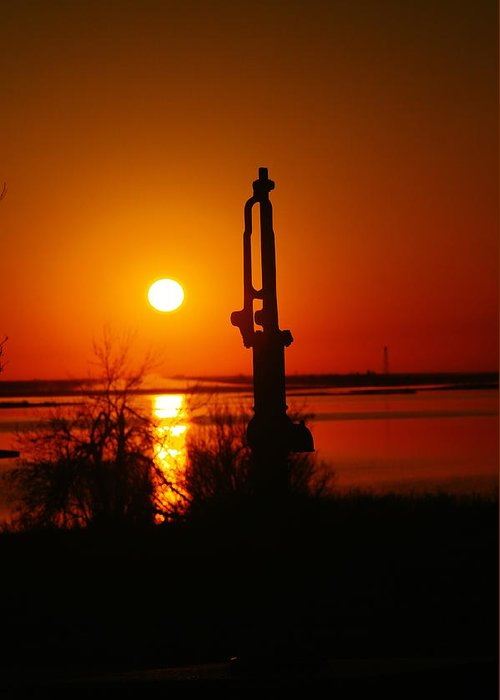 Water Pump Greeting Card featuring the photograph Waterpump In The Sunrise by Jeff Swan