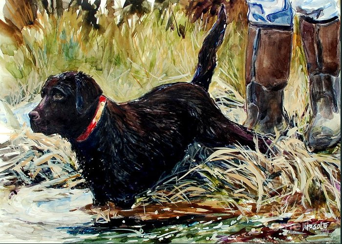 Chocolate Labrador Retreiver Greeting Card featuring the painting Water's Edge by Molly Poole