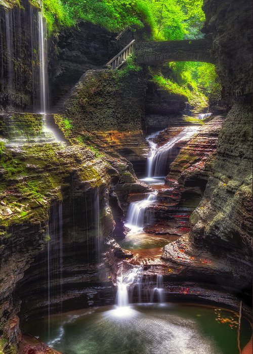 Waterfall Series Greeting Card featuring the photograph Watkins Glen Rainbow Falls by Mark Papke