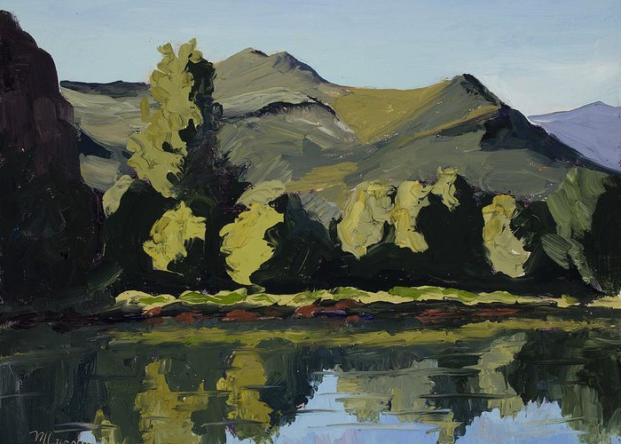 Plein Air Greeting Card featuring the painting Watson Lake by Mary Giacomini