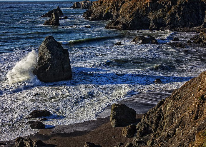Beautiful California Greeting Card featuring the photograph Wave Breaking On Rock by Garry Gay