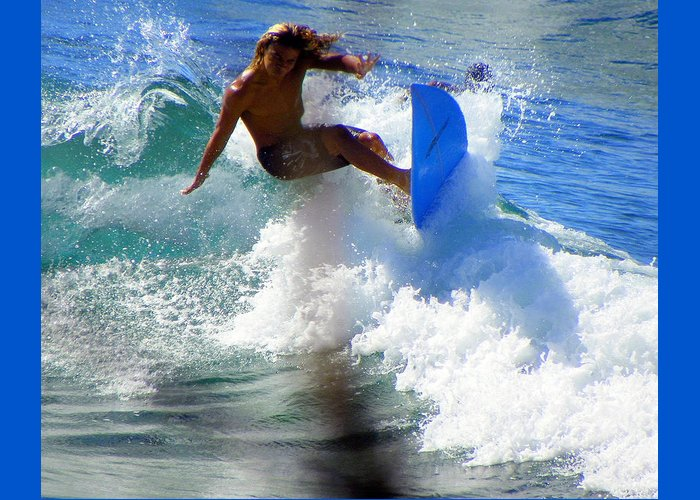 Surfers Greeting Card featuring the photograph Wave Rider by Karen Wiles