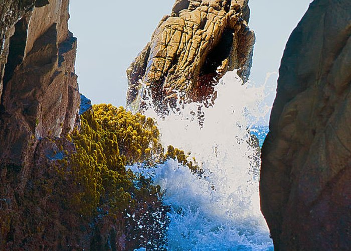 Pfeiffer Beach Greeting Card featuring the photograph Wave Through The Cave At Pfiffer Beach In Big Sur by Artist and Photographer Laura Wrede
