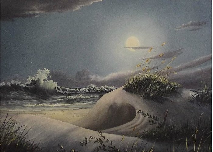 Landscape Greeting Card featuring the painting Waves And Moonlight by Wanda Dansereau