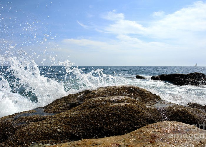 Maine Greeting Card featuring the photograph Waves Crashing by Olivier Le Queinec