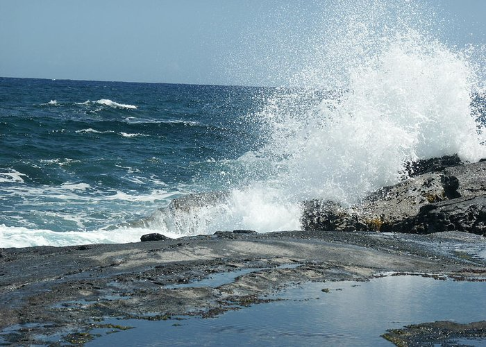 Forbidden Isle Hawaii Greeting Card featuring the photograph Waves Crashing On The Forbidden Isle by Kai Hyde