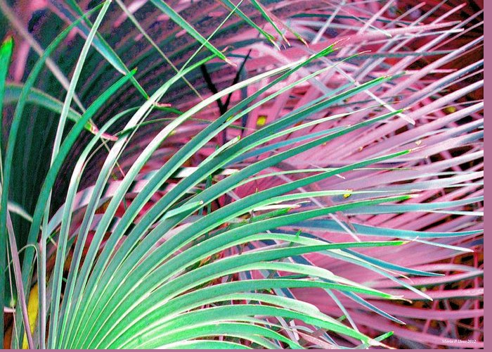 Waves Of Palm Greeting Card featuring the digital art Waves Of Palm by Maria Urso