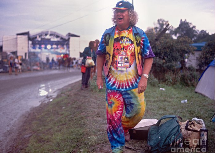 Wavy Greeting Card featuring the photograph Wavy Gravy At Woodstock by Chuck Spang