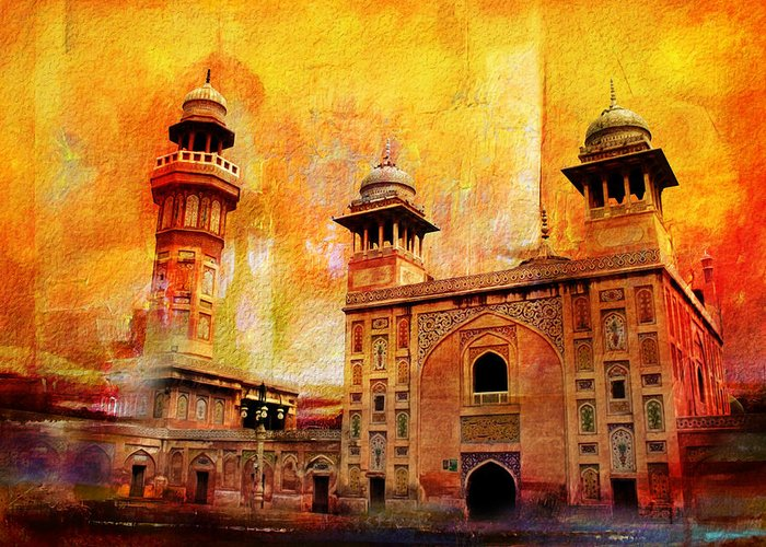 Pakistan Greeting Card featuring the painting Wazir Khan Mosque by Catf