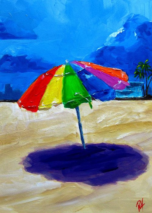 Art Greeting Card featuring the painting We Left The Umbrella Under The Storm by Patricia Awapara