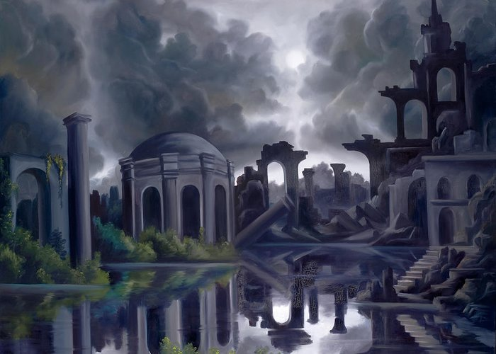 Ruins Greeting Card featuring the painting We Lost Our Empire A Long Time Ago by James Christopher Hill