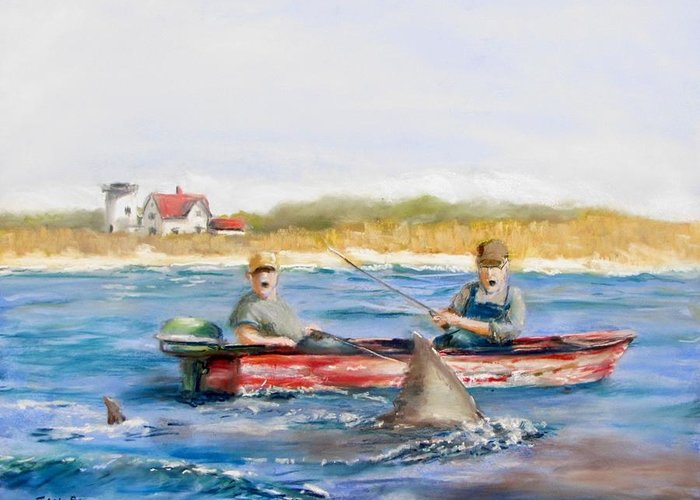 Boat Greeting Card featuring the painting We Need A Biggah Boat by Jack Skinner