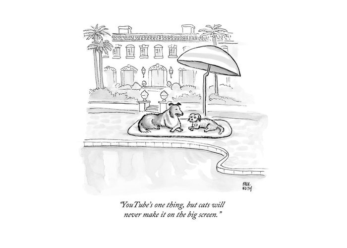 Dogs Greeting Card featuring the drawing Wealthy Dogs Discuss Cats In Hollywood by Paul Noth