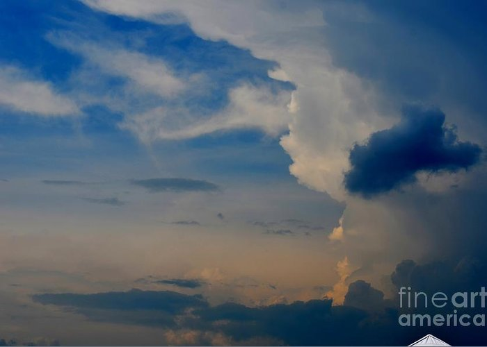 Cloudy Greeting Card featuring the photograph Weather Rising by Brenda Dorman