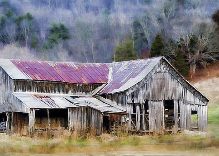 Barn Greeting Card featuring the photograph Weathered Barn by Kathy Jennings