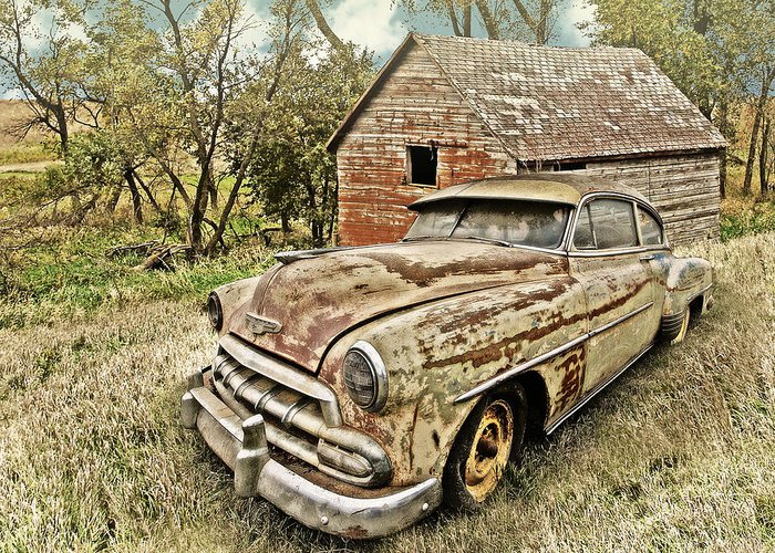 Cars Greeting Card featuring the photograph Weathered Chevy by John Anderson
