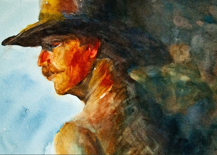 Cowboy Art Greeting Card featuring the painting Weathered Cowboy by Jani Freimann