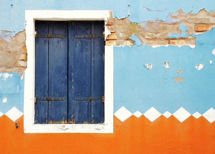 Orange Color Greeting Card featuring the photograph Weathered Decorated Facade With Window by Bremecr