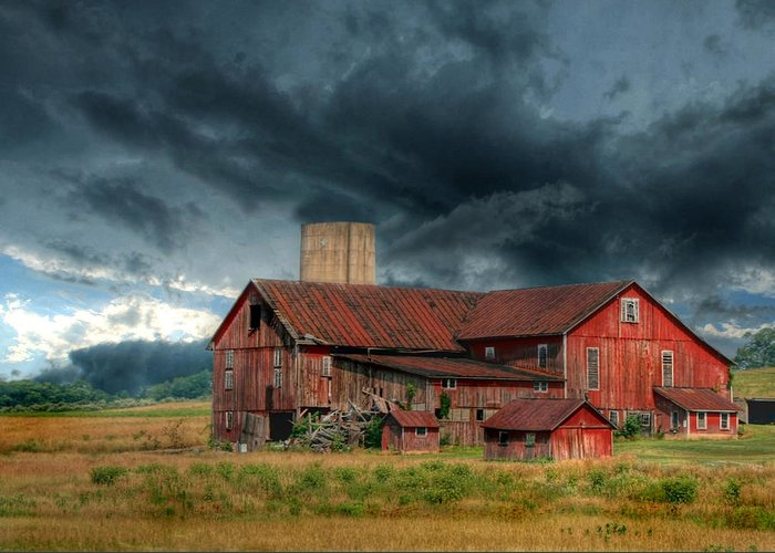 Red Barn Greeting Card featuring the photograph Weathering The Storm by Lori Deiter