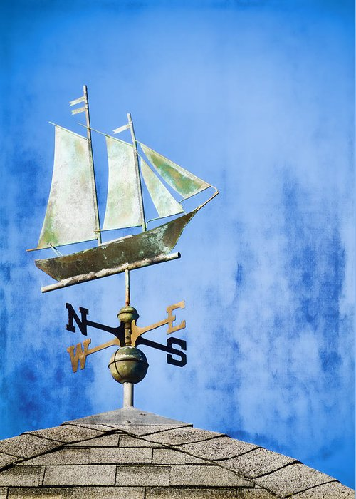 Weathervane Greeting Card featuring the photograph Weathervane Clipper Ship by Carol Leigh