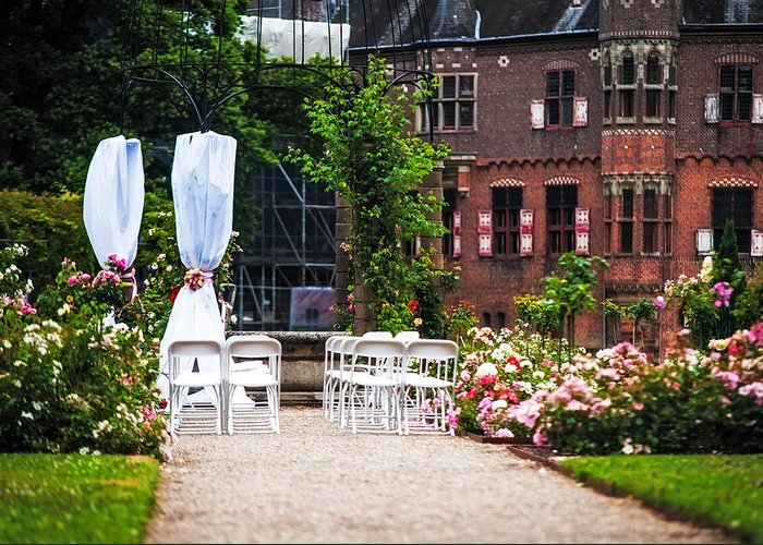 Utrecht Greeting Card featuring the photograph Wedding Arrangement In De Haar Castle. Utrecht by Jenny Rainbow