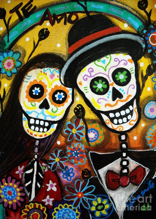 Wedding dia de los muertos greeting card for sale by pristine dia greeting card featuring the painting wedding dia de los muertos by pristine cartera turkus m4hsunfo