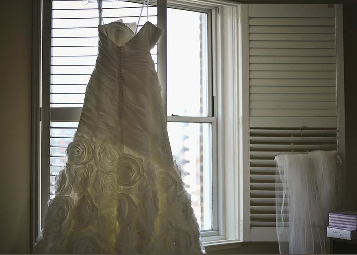 Wedding Dress Greeting Card featuring the photograph Wedding Dress And Veil By The Window by Mike Hope