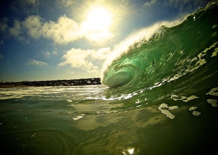 Ocean Greeting Card featuring the photograph Wedge by Jeff Vasko