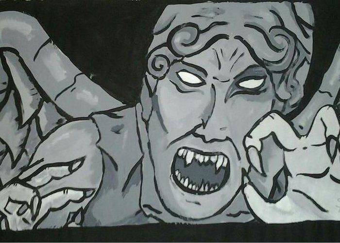 Paint Greeting Card featuring the painting Weeping Angel by S D