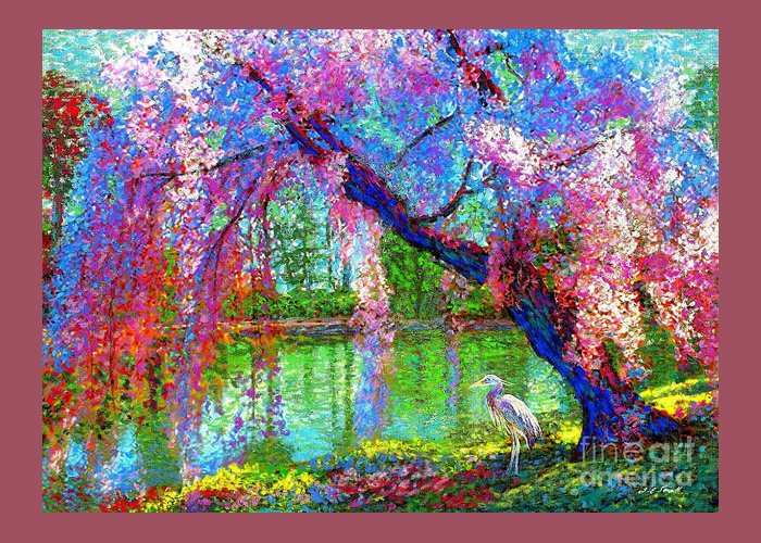 Spring Greeting Card featuring the painting Weeping Beauty, Cherry Blossom Tree And Heron by Jane Small