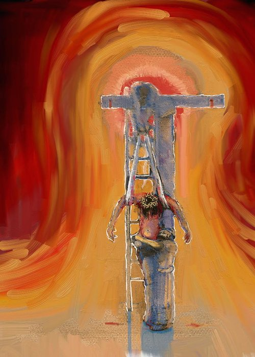 Crucifixion Greeting Card featuring the painting Weeping by Daniel Bonnell