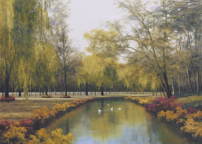 Autumn Greeting Card featuring the painting Weeping Willow by Diane Romanello