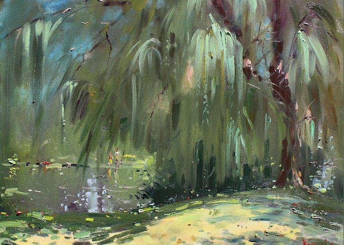 Weeping willow tree greeting card for sale by ylli haruni trees by the lake greeting card featuring the painting weeping willow tree by ylli haruni m4hsunfo