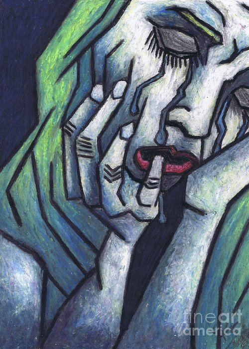 Weeping Woman Greeting Card featuring the painting Weeping Woman by Kamil Swiatek