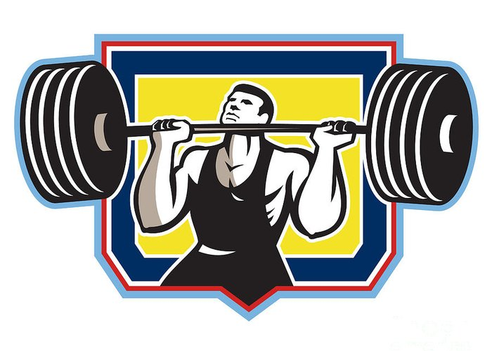 Weightlifter Greeting Card featuring the digital art Weightlifter Lifting Heavy Barbell Retro by Aloysius Patrimonio