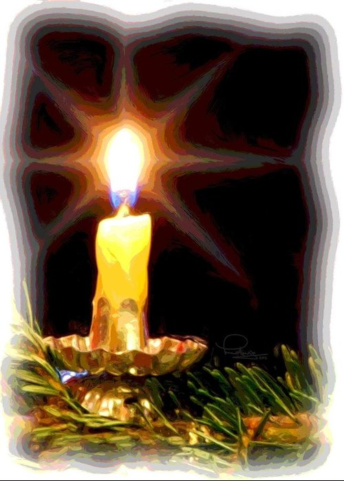 Christmas Greeting Card featuring the photograph Weihnachtskerze - Christmas Candle by Ludwig Keck