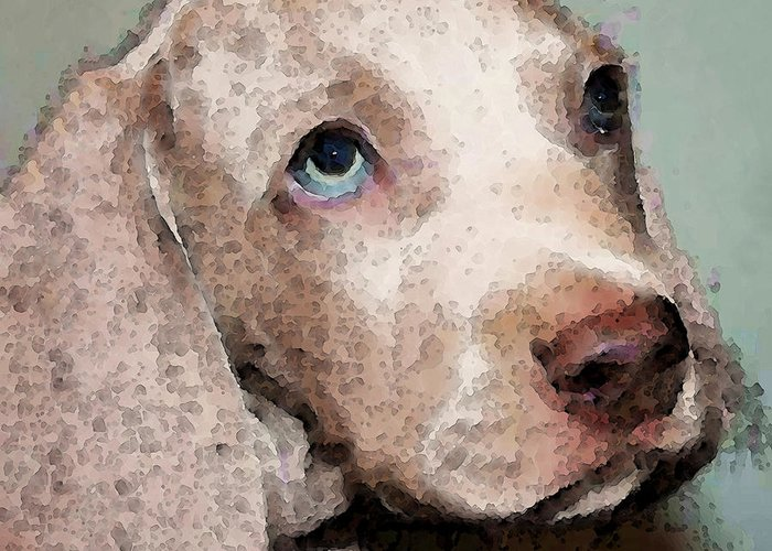 Weimaraner Greeting Card featuring the painting Weimaraner Dog Art - Forgive Me by Sharon Cummings