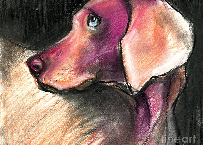 Weimaraner Dog Art Greeting Card featuring the painting Weimaraner Dog Painting by Svetlana Novikova