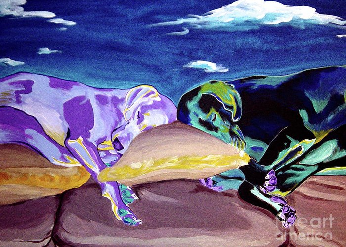 Dog Greeting Card featuring the painting Weimaraner - Sweet Dreams by Alicia VanNoy Call
