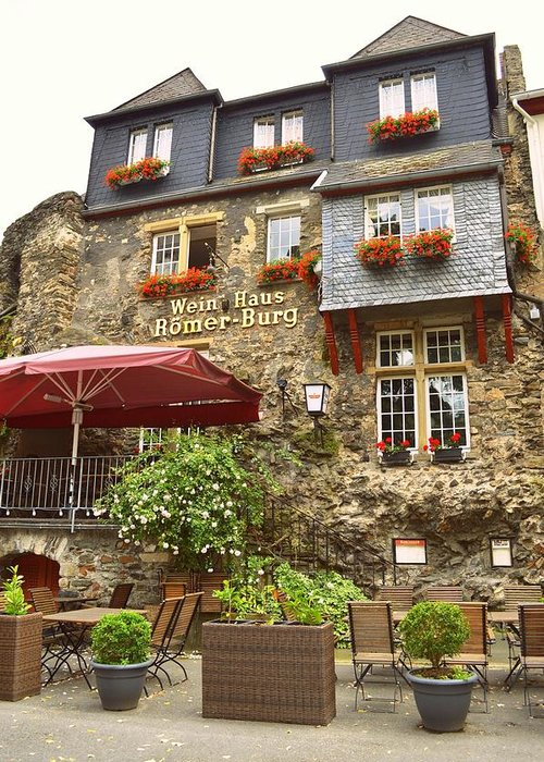 Weinhaus Greeting Card featuring the photograph Weinhaus Restaurant Bachrach Germany by Linda Covino