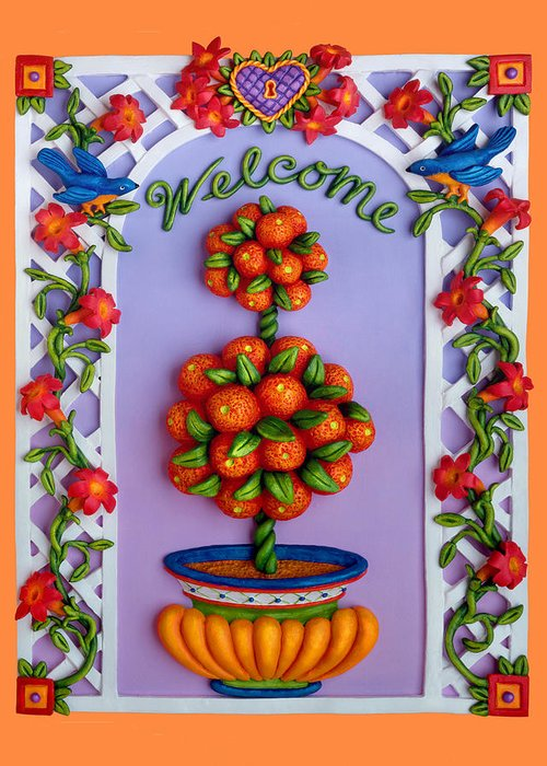Garden Scene Greeting Card featuring the sculpture Welcome by Amy Vangsgard