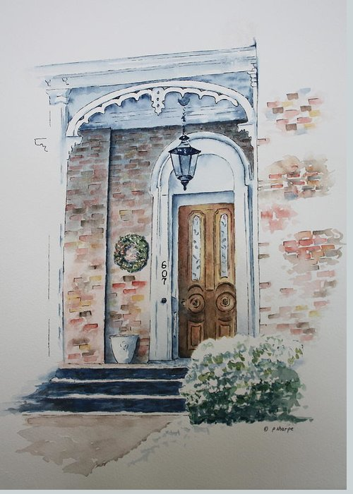 Historic Home Greeting Card featuring the painting Welcome Christmas by Patsy Sharpe
