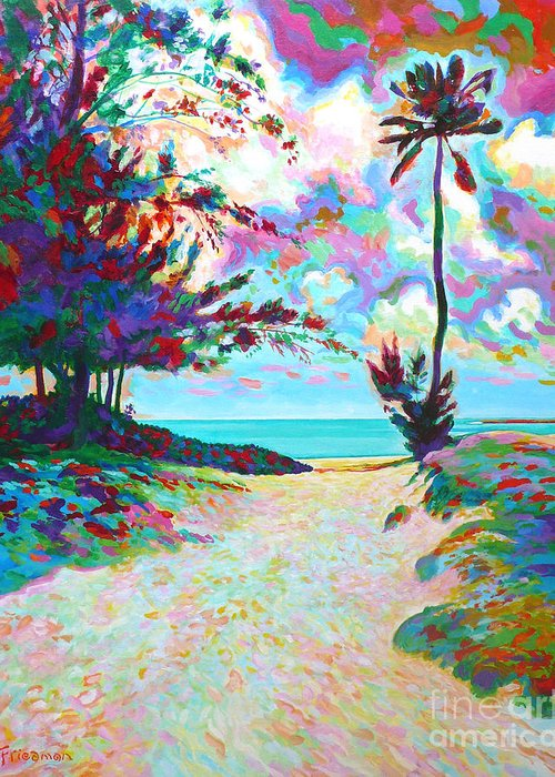 Beach Greeting Card featuring the painting Welcome by David Friedman