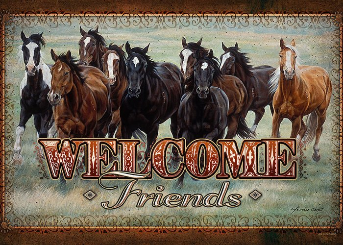 Michelle Grant Greeting Card featuring the painting Welcome Friends Horses by JQ Licensing